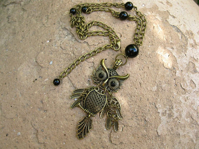 Owl protection necklace ~ black agate