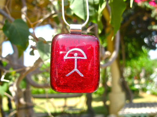 Dichroic glass pendant ~ Indalo PEACE ruby