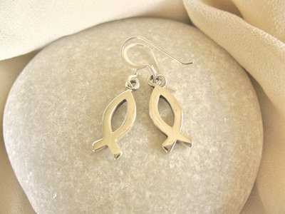 Christian fish earrings ~ silver