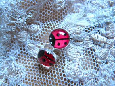 Lucky ladybird earrings ~ red, stud