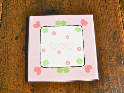 Hearts + clover coaster tile