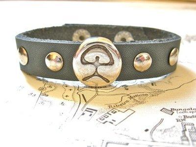 Indalo charm bracelet ~  leather strap, grey
