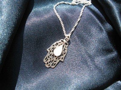 Hamsa Hand of Fatima pendant ~ iceberg, teardrop