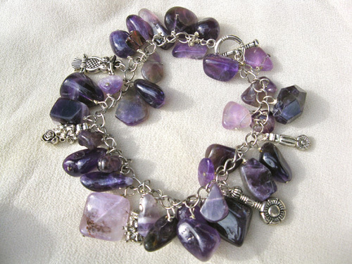 Owl charm bracelet ~ amethyst