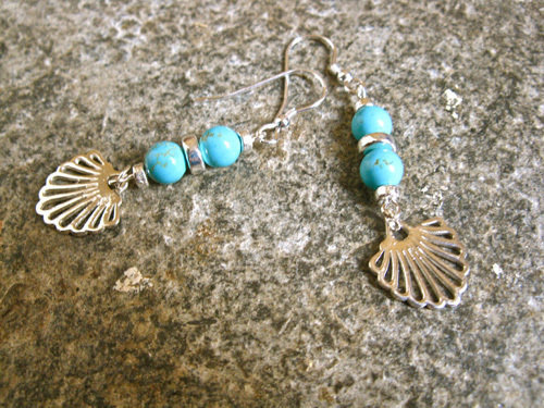 Compostela earrings, turquoise + silver