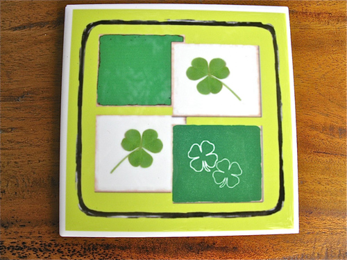 Lucky clover + shamrock tile coaster ~ green