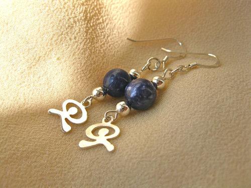 Sodalite earrings with Indalos