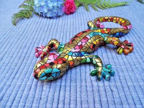 Spanish ceramic Gecko figurine to wish luck LARGE ~ Diego