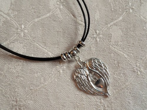 Angel wings + heart necklace for protection