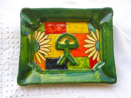 Ceramic dish / ashtray with Indalo symbol - green