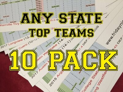 Top Teams 10 Pack  any state - FNL team sheet