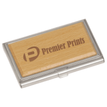 Silver/Wood Business Card Holder