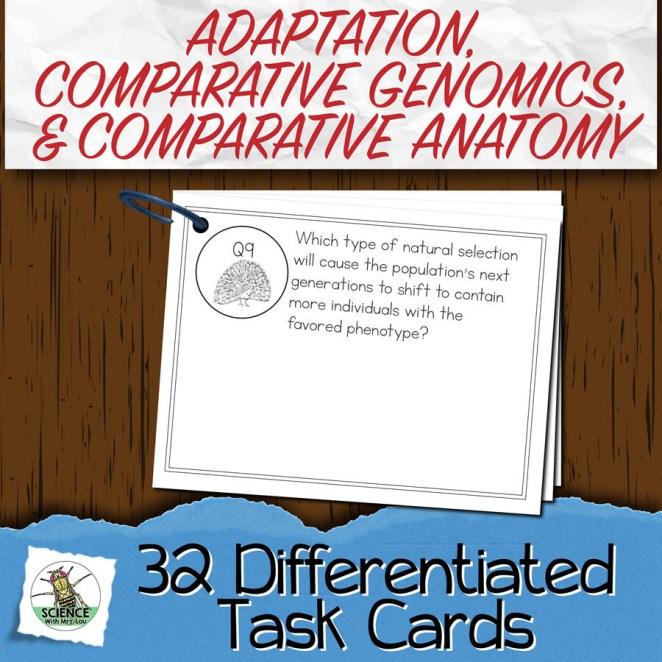 Adaptation, Comparative Anatomy and Genomics Task Cards