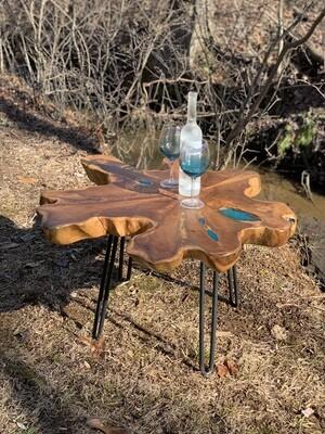 Live Edge Wood Table, Teak Wood Table, Free Shipping