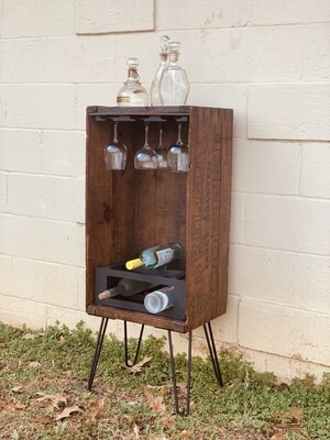 Rustic Wine Rack, Rustic Wine Cabinet, Re-purposed Crate