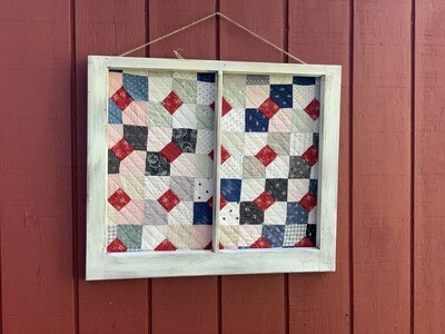 Vintage Wall Art, Vintage Quilt, Window Frame