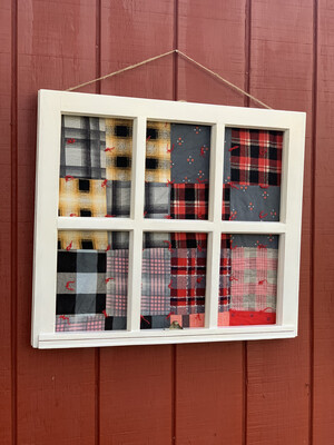 Vintage Framed Flannel Quilt, Vintage Window