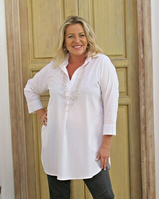Tianne - White self stripe stretch cotton tunic