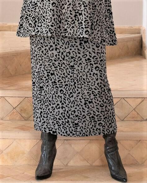 KASBAH Shana - Leopard Print Jersey Jacquard Skirt