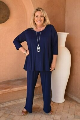 KASBAH Paloma - Bright Navy Jersey long Trousers