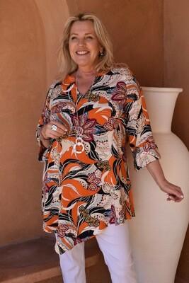 KASBAH Toni - Vibrant Floral Print Kaftan Tunic