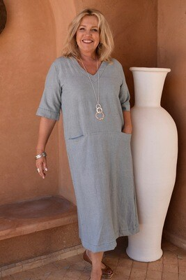 KASBAH Rosette - Linen blend A-line Dress
