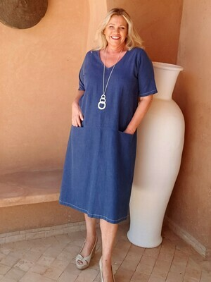 Rachel - A-line linen dress - Denim Blue