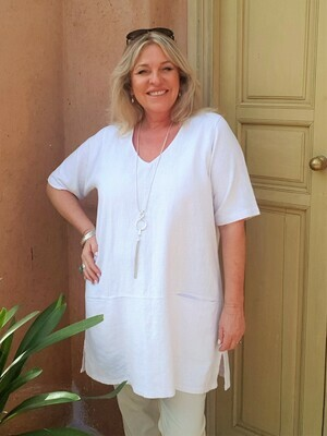 KASBAH Terrie - White Short Sleeve Linen Top