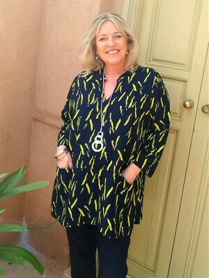 Trance - Soft Navy/Lime tunic top
