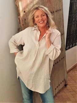 KASBAH Takoma - Natural Linen Turn back Sleeve Tunic