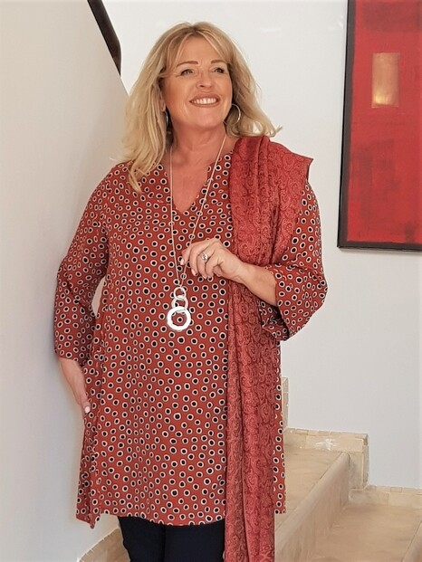 KASBAH Topazi - Spot print Kaftan tunic top with pockets