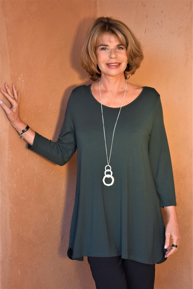 KASBAH Tessina 2 - Forest Green Jersey Top