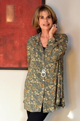 KASBAH Teshi - Olive Floral Print Blouse