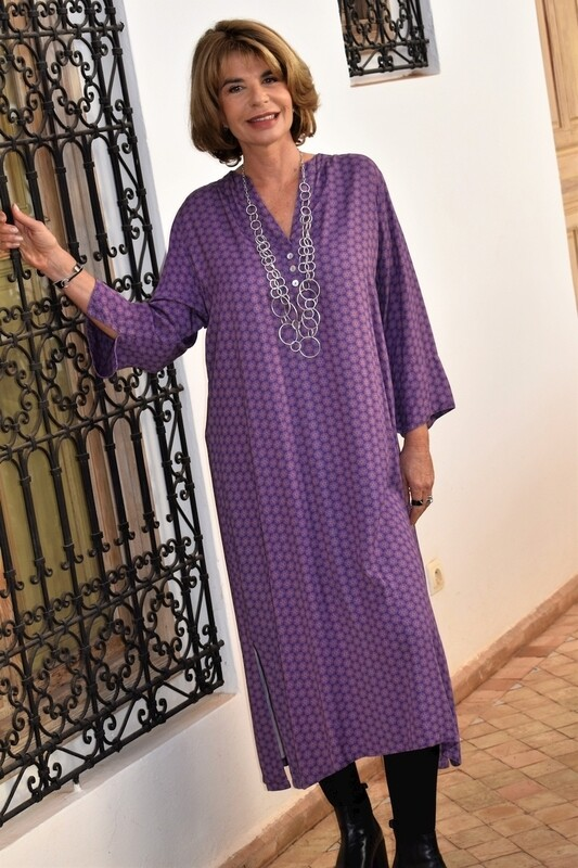 Kasbah Raissa 2 - Purple Mosaic Print Long Tunic/Dress