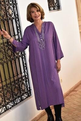 Kasbah Raissa 2 - Purple Mosaic Print Long Tunic/Dress