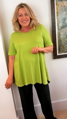 KASBAH Tessa - Short Sleeve Jersey Top - Lime