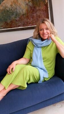 KASBAH Palaya - Lime Jersey Crop Trousers