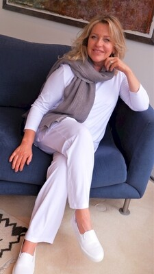 KASBAH Paige - White Jersey Trousers