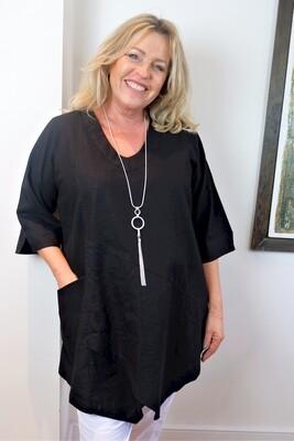 Kasbah Tessie - Black Asymmetric Linen Tunic Top