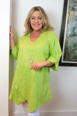 Kasbah Tessie - Lime Asymmetric Linen Tunic Top