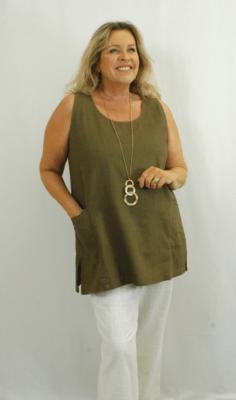 Kasbah - Tonia Linen Sleeveless Tunic - Khaki