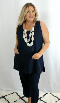 Kasbah - Tonia Linen Sleeveless Tunic - Navy