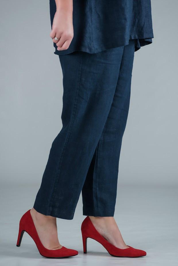 KASBAH Pamela - Navy linen trousers straight leg - short or medium length