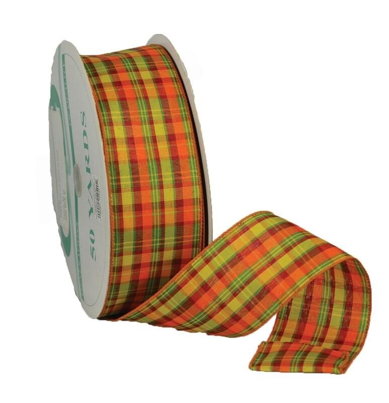 CIDER40 - #40 Wired cider plaid ribbon