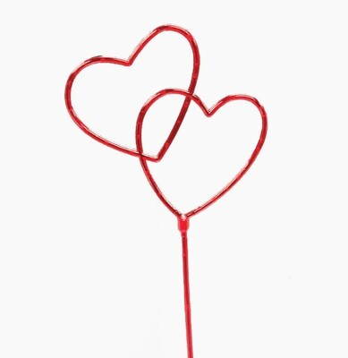"9034 RED - 7"" Double open heart pick w/ 5"" stem $5.75 DZ Min: 1 DZ Case: 144 Dozen"