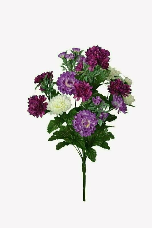 SB2046LW - Lavender / White Marigold Bush x9 $3.35 each