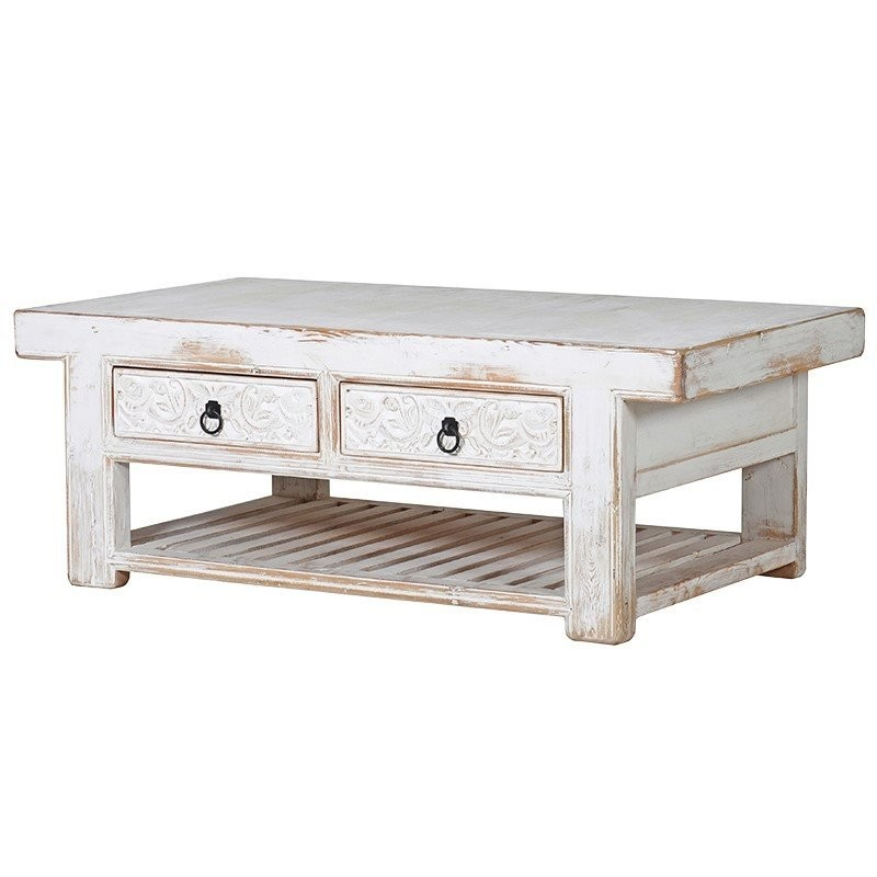 white distressed coffee table with storage
