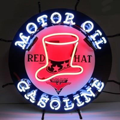 Red Hat Motor Oil Gasoline Neon Sign