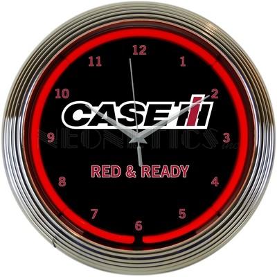 Case IH Red & Ready Neon Clock