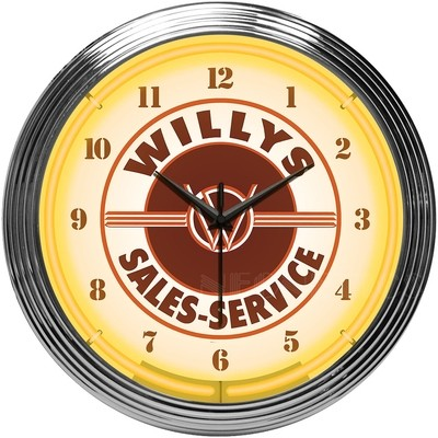 Willys Sales Service Neon Clock